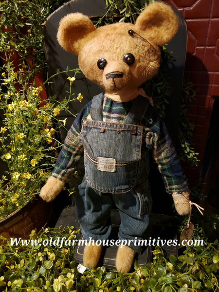 "#RMB15 Primitive Fall Medium Tattered And Torn Bear 🐻 ""Sonny"" (Made In USA)"