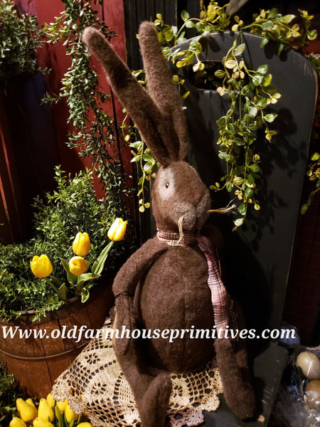 #LKB7 Primitive Medium Chocolate Brown Sitting Rabbit (Made In USA) Back In Stock!
