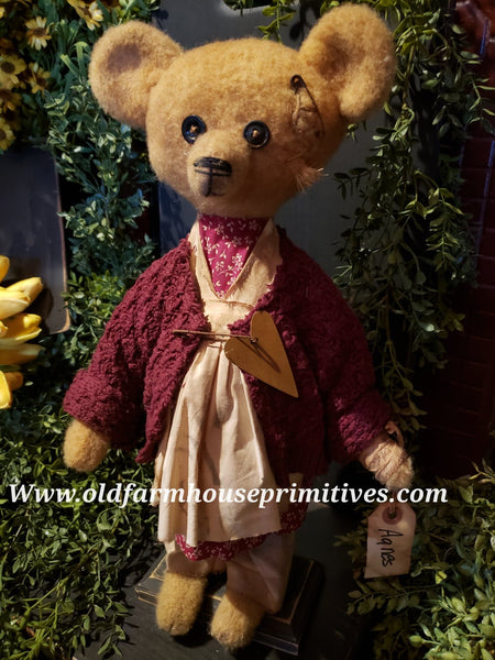 "#RM25 Primitive Tattered And Torn Girl Bear 🐻 ""Agnes""  (Made In USA)"
