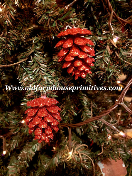 #GPCO6 Primitive Glitter Pinecone Ornament Set/6