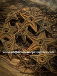 "#PBBW580 Primitive Blackened Beeswax ""Small"" Iron Architectural Star Bowl Fillers (Made In USA)"