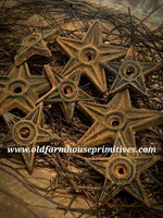 "#PBBW579 Primitive Blackened Beeswax ""Large"" Iron Architectural Star Bowl Fillers (Made In USA)"