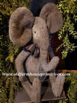 "#LK38 Primitive Grey Plush Sitting Girl Elephant 🐘""Ellie"" (Made In USA)"