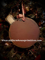"#PWCO12 Primitive Wood ""Dark Red Bulb"" Christmas Ornament"