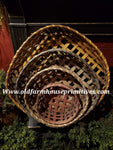 #PBBGNS15 Primitive Set of 4 Handmade Wall Baskets (Made In Maine)