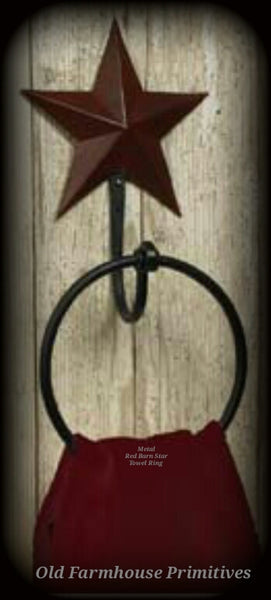 #TR1 Primitive Red Barn Star Towel Ring