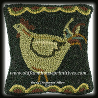 "#TOM1 Primitive Hooked Wool Throw Pillow ""Top Of The Mornin' """