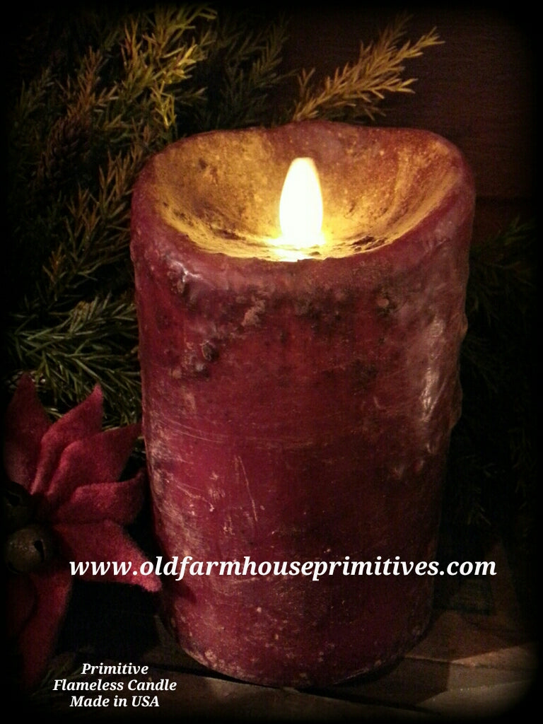 Pfbc1 Primitive Flameless Real Look Flame Candle In Burgundy Made In Old Farmhouse Primitives