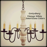 #9103 Primitive Wooden Gettysburg Chandelier In Americana Colors (Made In USA)