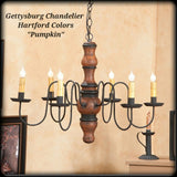 #9103H Primitive Wooden Gettysburg Chandelier in Hartford Colors (Made In USA)