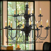 #TTC2 Primitive Two Tier Wooden Harrison Chandelier (Made In USA)