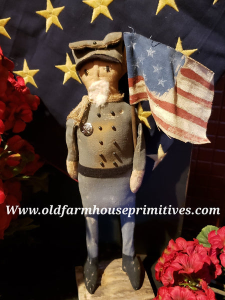 #NNA3 Primitive Standing Soldier In Grey Uniform (Made In USA)