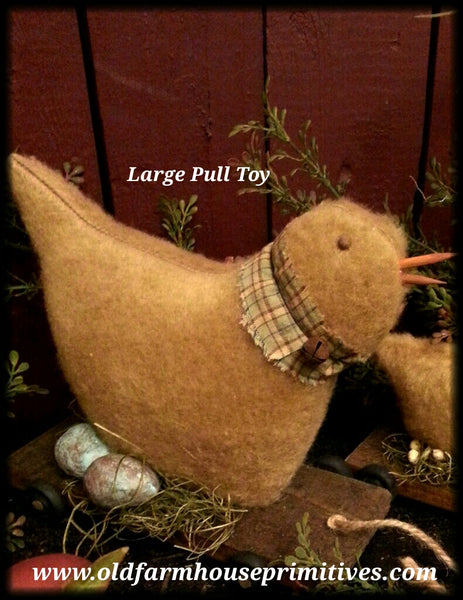#MQ7 Primitive Large Chicken Pull Toy (Made IN USA)