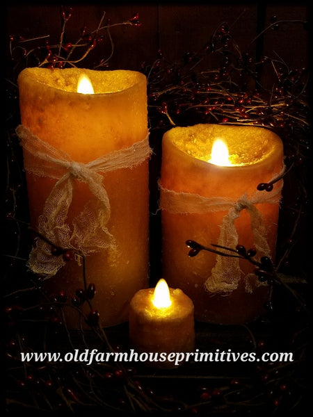 #RJ7 Primitive Flameless Mustard Candles (Made In USA)