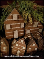 #LC1 Primitive Log Cabin Ornaments (Made In USA)