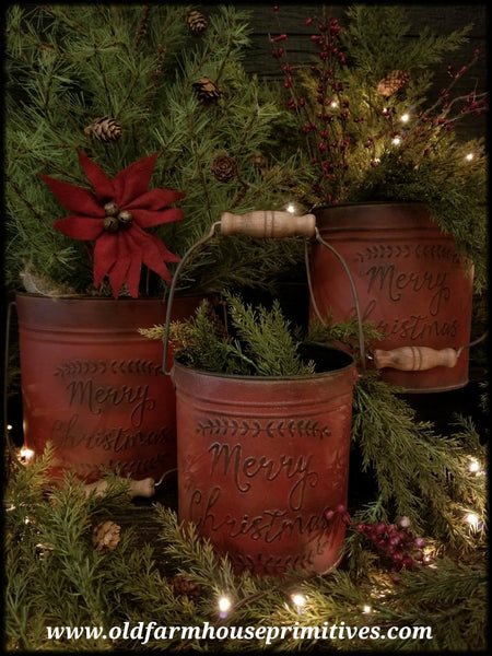 "#PRP3 Primitive Red ""Merry Christmas"" Metal Pails With Handles"