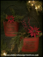 "#PWP2 Primitive ""Merry Christmas"" Metal Wall Pocket"