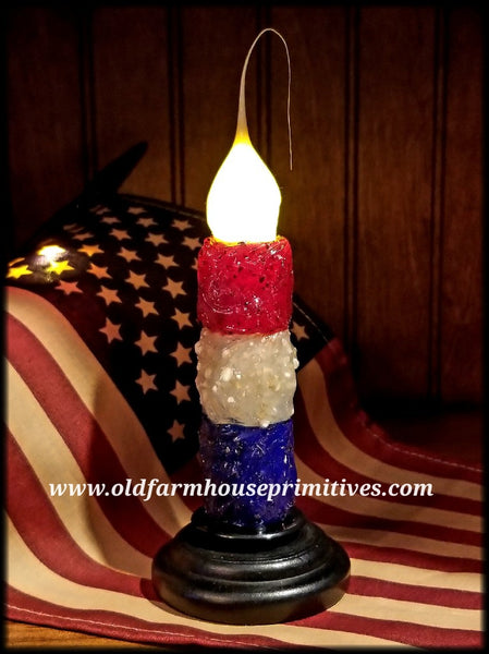 #VJ32 Primitive Americana Remote Battery Operated LED Candle (Made In USA)