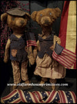 "#RP28 Primitive Americana Boy & Girl Bears ""Jeb & Star"" (Made In USA)"