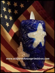 #VJ33  Primitive Blue Star Battery Timer Moving Flame Votive Candle (Made In USA)