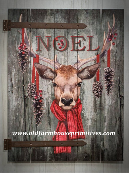 #RH22 Primitive Barn Door Reindeer Noel Sign