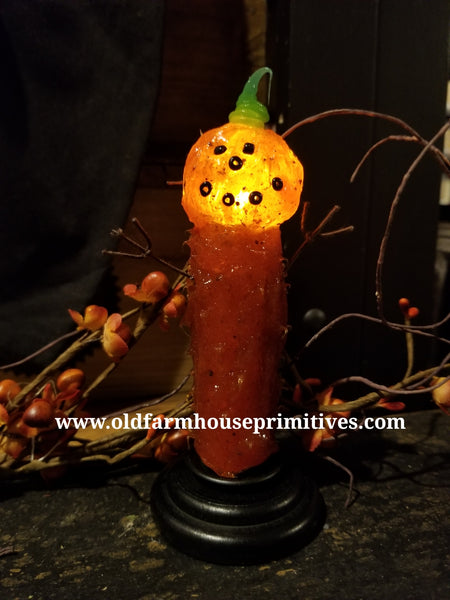 #VJ41 Primitive Jack-O-Lantern Remote Battery Operated LED Candle (Made In USA) BACK IN STOCK!