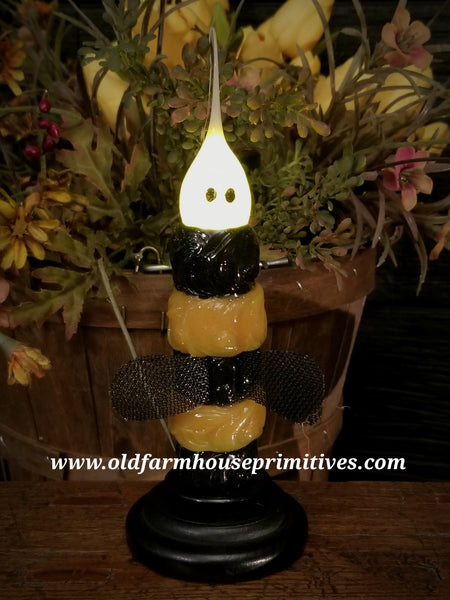 #VJ47 Primitive Bumble Bee Remote Battery Operated LED Candle (Made In USA)
