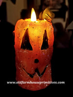 #VJ38 Primitive Jack-O-Lantern Moving Flame Votive (Made In USA)