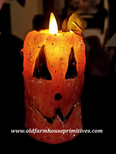 #VJ388 Primitive Jack-O-Lantern Moving Flame Votive (Made In USA)