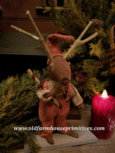 #LT77 Primitive Boy Reindeer Holding Candy Cane (Made In USA)