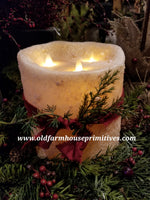 #RJ22 Primitive Flameless Moving Flame Ivory Candle (Made In USA)