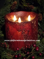 #RJ23 Primitive Flameless Three Wick Burgundy Candle (Made In USA)