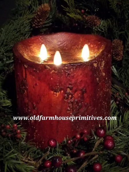 #RJ23 Primitive Flameless Burgundy Candle (Made In USA)