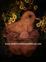 #RC15 Primitive Chicken In Burlap Basket With Egg (Made In USA)