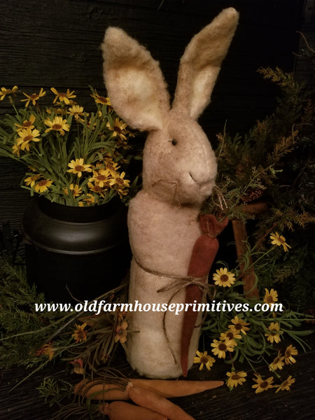 #TBHWR1 Primitive Standing Rabbit Holding Carrot (Made In USA)