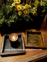 "#PPWM18 Primitive ""Mustard"" Wood Candle Box (Made In USA)"
