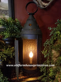 #BT13 Primitive Black Textured Punched Tin Electric Lantern