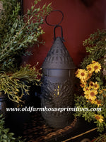 #BT9 Primitive Black Textured Punched Tin Lantern