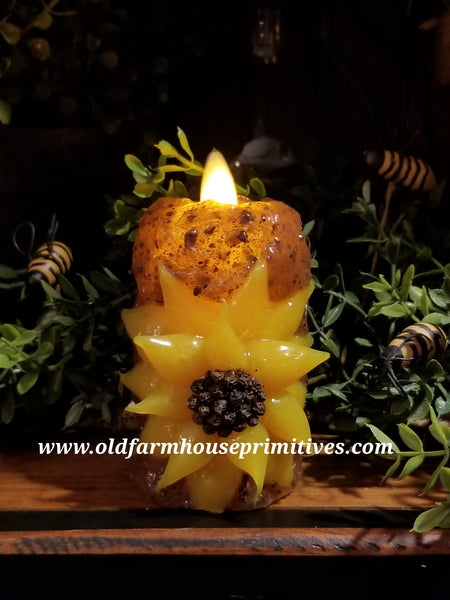 #VJS14 Primitive Sunflower Battery Timer Moving Flame Votive Candle (Made In USA)