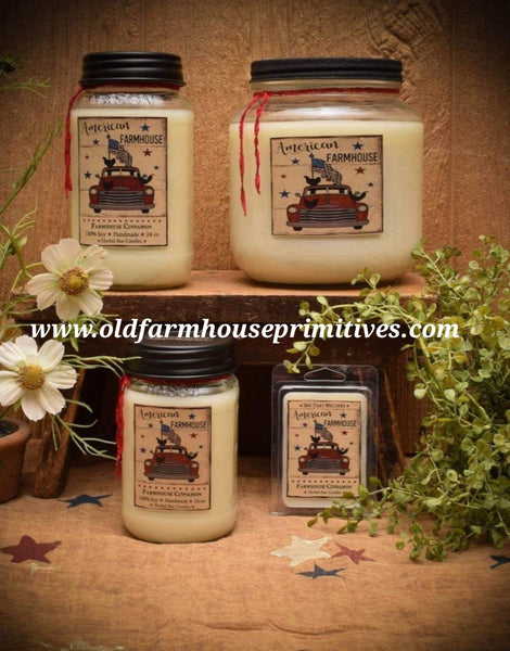 #HS35 Americana Farmhouse Cinnamon Collection 100% Soy Candles (Made In USA) ★