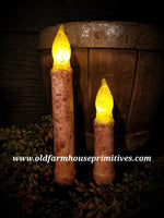 #LBC2 Primitive Burnt Ivory Battery Timer Taper Candle Stick