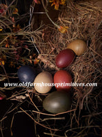 #PEG4 Primitive Hand Painted Eggs With Prairie Grass (Made In USA)