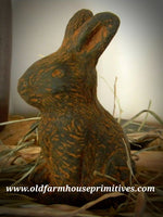 #PBBW003 Primitive Blackened Beeswax Sitting Bunny (Made In USA)