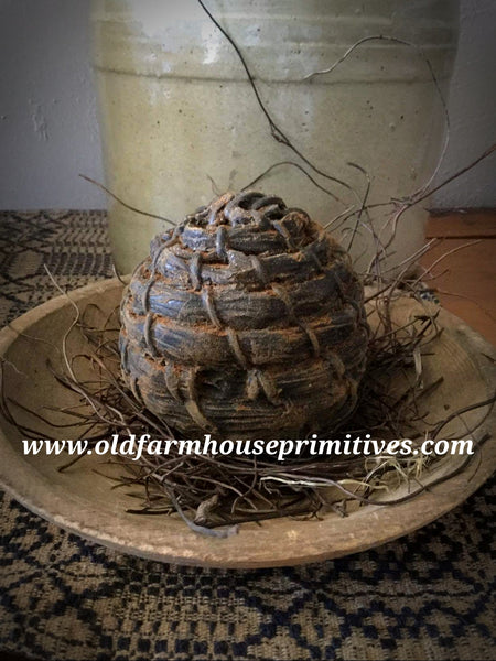 #PBBW212 Primitive Blackened Beeswax Bee Skep  🐝  (Made In USA)
