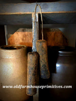 #PBBW554 Primitive Blackened Beeswax Hanging Taper Candles (Made In USA)