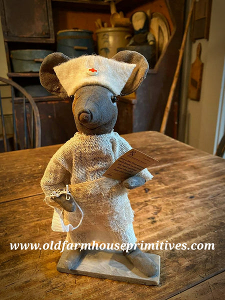 "#LTN1 Nurse ""Rat-Chet"" Primitive Mouse (Made In USA) IN STOCK"