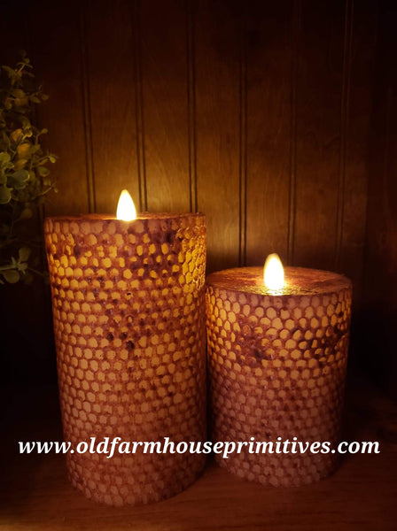 #RJ11 Primitive Honeycomb Flameless Candle (Made In USA) Back In Stock!