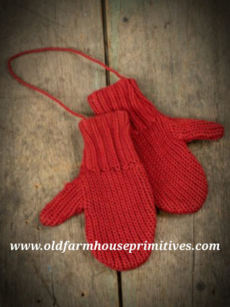 #RHC1 Primitive Red Mitten Pair Ornament