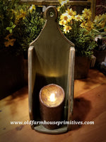 "#PPWM6 Primitive Wood ""Sage Green"" Candle Sconce (Made In USA)"