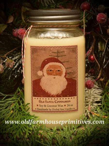 "#HS23  Primitive Soy Blend ""Old Santa Cinnamon"" Candle (Made In USA)"